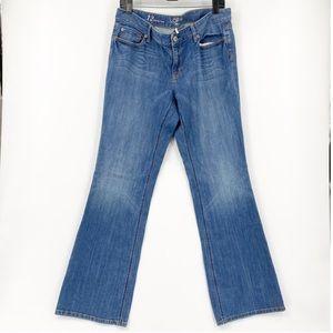 Ann Taylor loft curvy boot denim wash jeans.